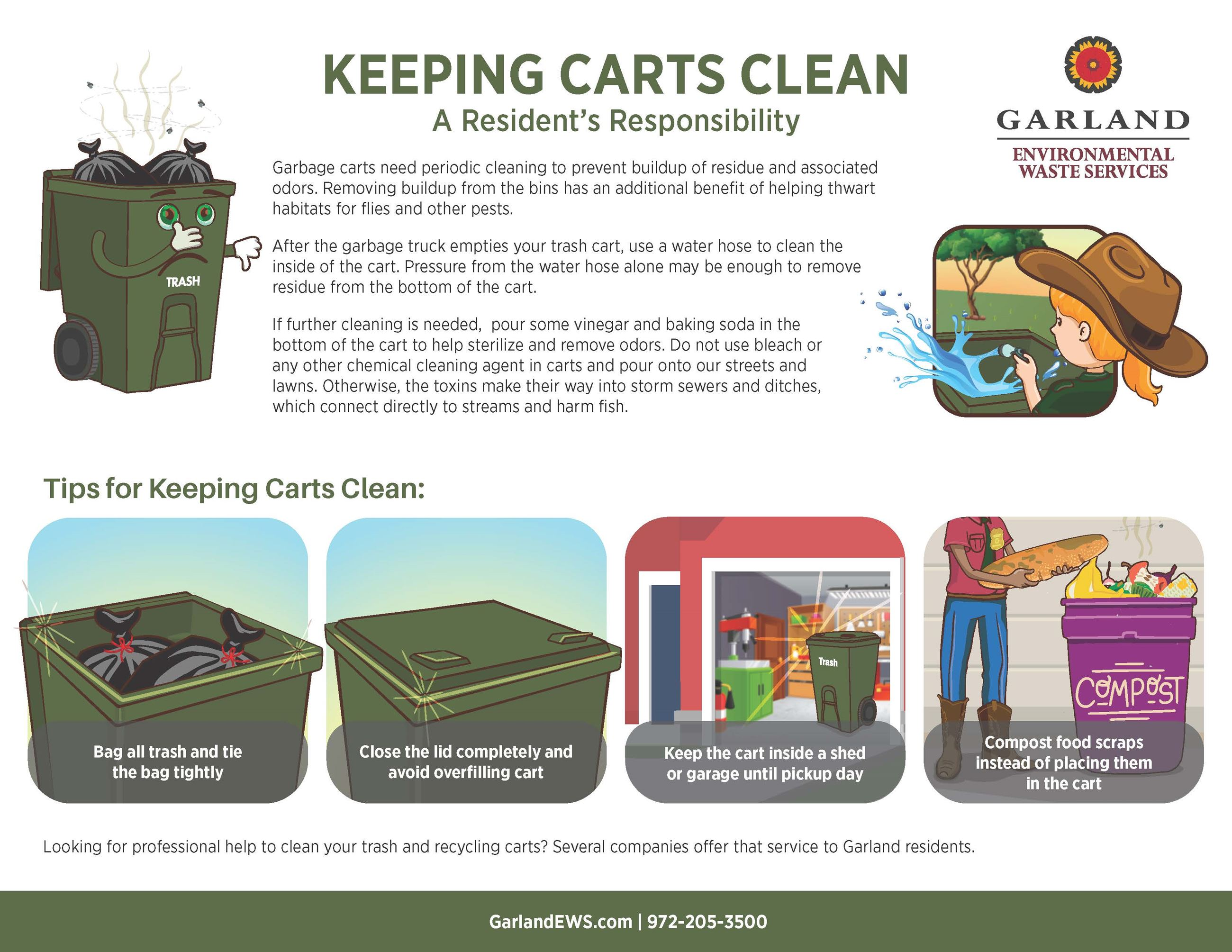 Explanation of how residents can keep their trash cart clean.