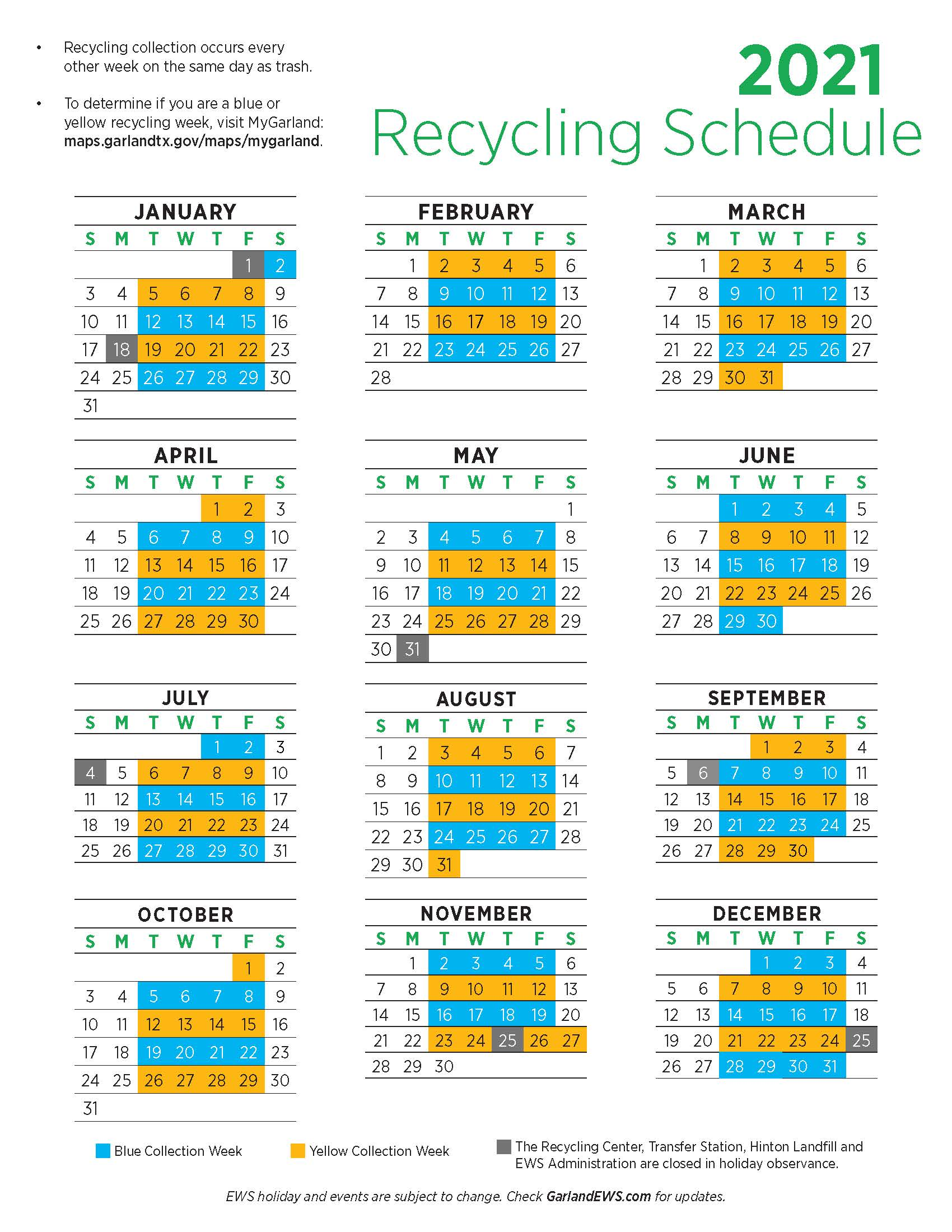 Downloadable 1-page 2021 Recycling Schedule