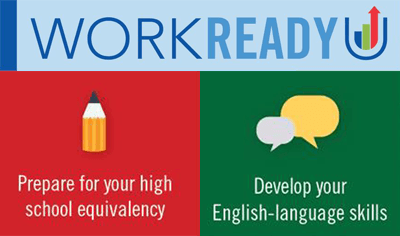 WorkReady logo words with a pencil for GED classes and speech bubbles for the ESL classes